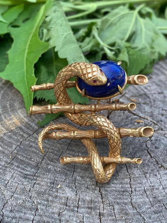 Snake Brooch, Snake Pendant, Snake Jewelry, Lapis