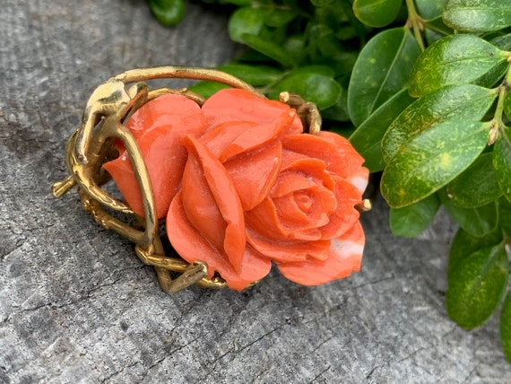 Coral Rosebud Pin, Gold Coral Rose, Craved Coral … - image 5
