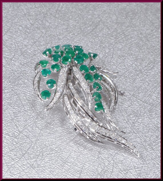 Vintage Emerald Brooch, Vintage Diamond Brooch, Sp