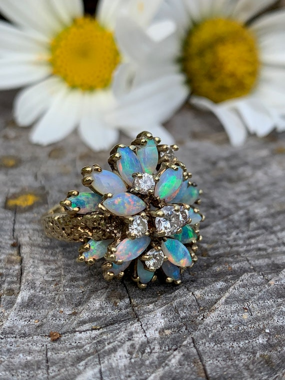 Opal and Diamond Ring, Marquise Opal Ring, Opal Co