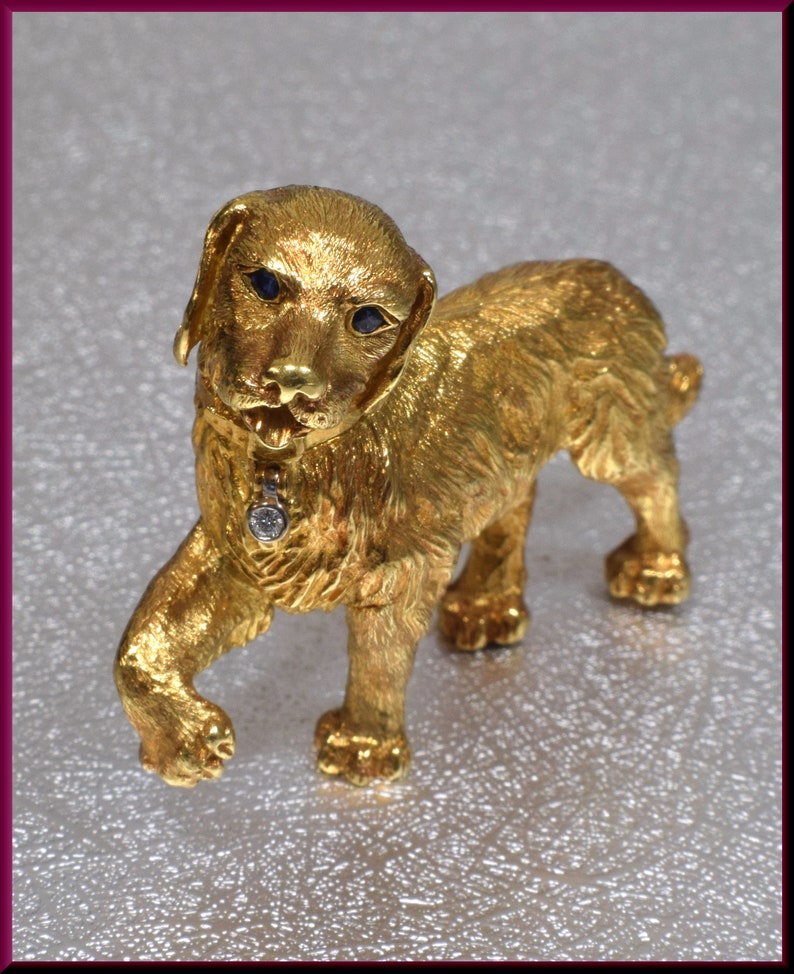 9f21ad62abb95 Tiffany & Co Gold Dog Brooch, Tiffany and Co Brooch, Golden Retriever  Brooch, Retriever Pin, Dog Pin, Dog Brooch, Brooch Bouquet