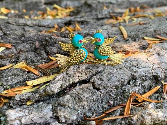 Lovebirds Brooch, Bird Brooch, Turquoise Bird Broo