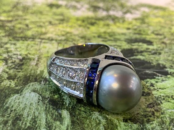 South Sea Pearl Ring, Tahitian Pearl Ring, Sapphir