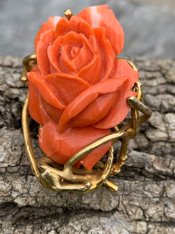 Coral Rosebud Pin, Gold Coral Rose, Craved Coral … - image 6