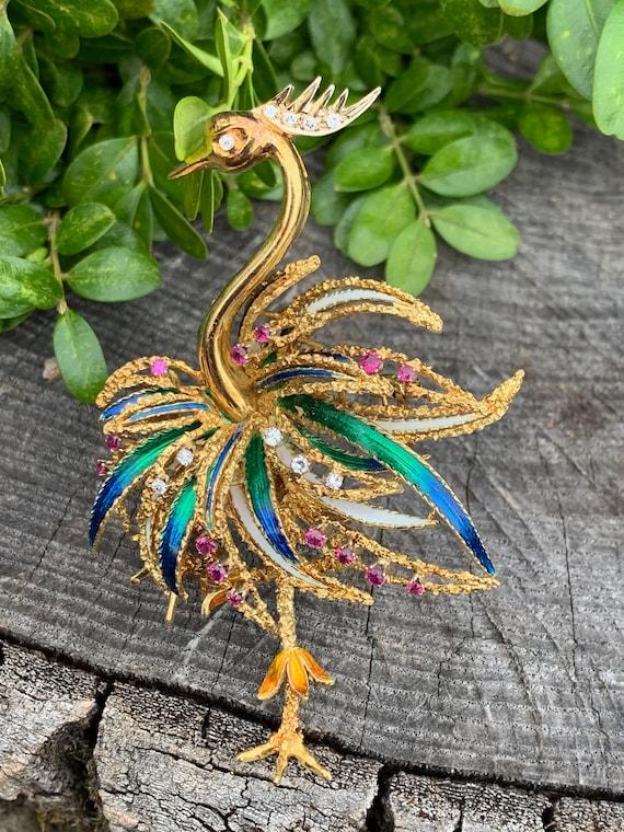 Ostrich Brooch, Bird Brooch, Gold Ostrich Pin, Ena