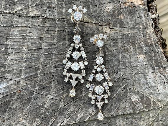 Deco Diamond Dangle Earrings, Art Deco Drops, Diam