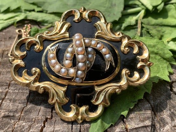 Victorian Enamel Brooch, Victorian Pearl Brooch, V