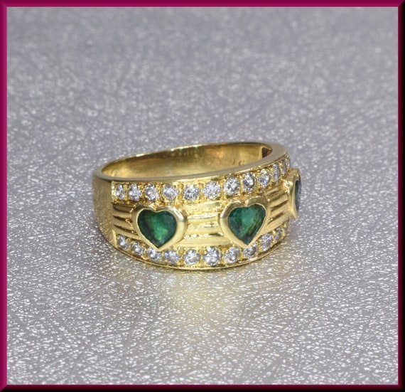 Green Emerald Ring, Gold Heart Ring, Emerald Heart