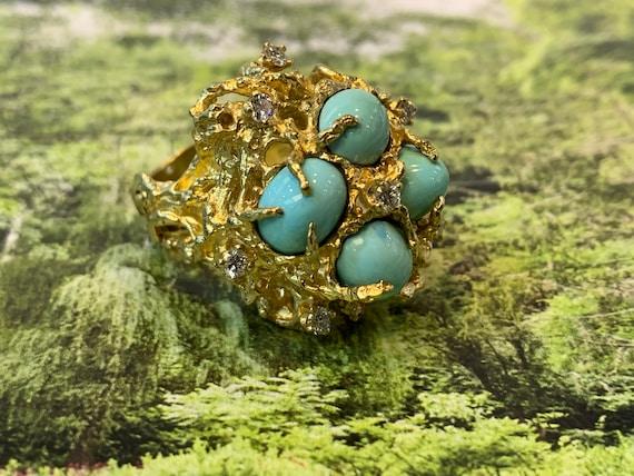 Turquoise Ring,  Turquoise Diamond Ring, December