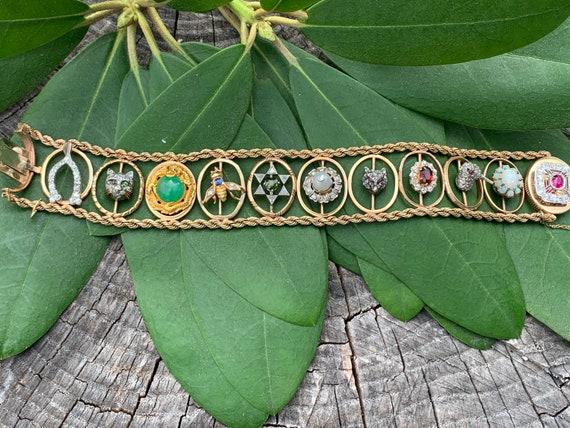 Slide Bracelet, Charm Bracelet, Victorian Charms,