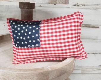 MINI Stuffed Fabric Flag Farmhouse Cottage American Mini Flags  Old Glory Flag  Memorial Day Decor  4th July decor  Tier Tray Decor