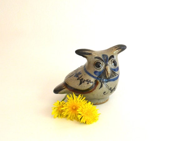 Small Vintage Mexican Folkart Ceramic Horned Owl Figurine