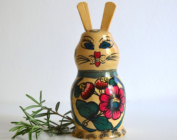 Vintage Hand Painted Carved Wood Rabbit