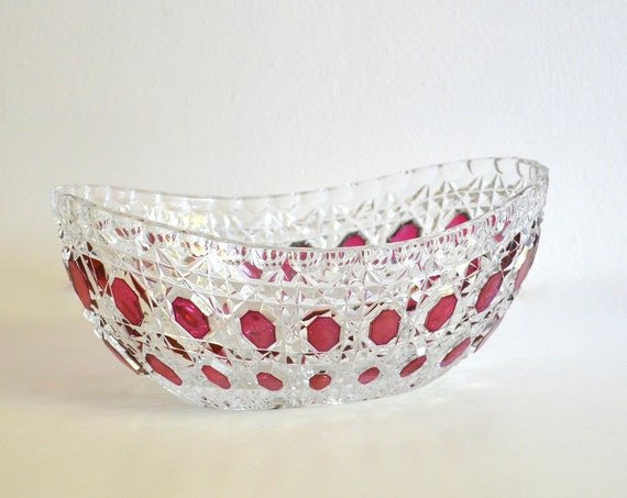 Vintage West German Crystal Glass Dish with Handpainted Fuchsia Accents
