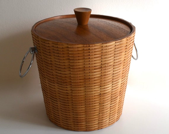 Mid Century Wicker and Wood Ice Bucket by KMC