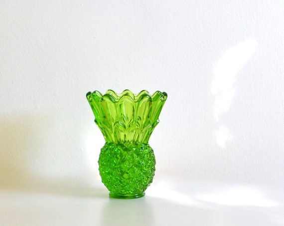 Vintage Tiara Green Glass Small Pineapple Shaped Vase or Candleholder