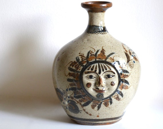 Vintage Mexican Ceramic Sun Face Vase