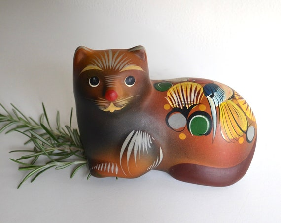 Vintage Mexican Ceramic Brown Cat Figurine