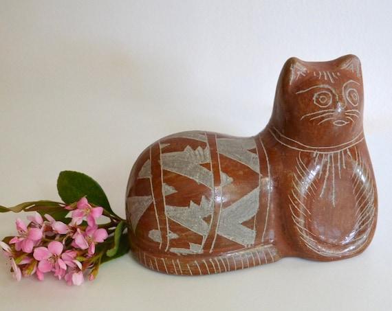 Vintage Mexican Ceramic Brown Cat Figurine