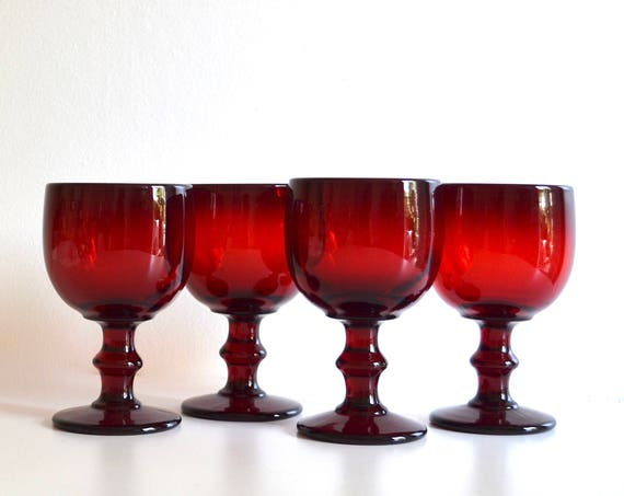 Set of Four Mid Century Ruby Red Glass Goblets