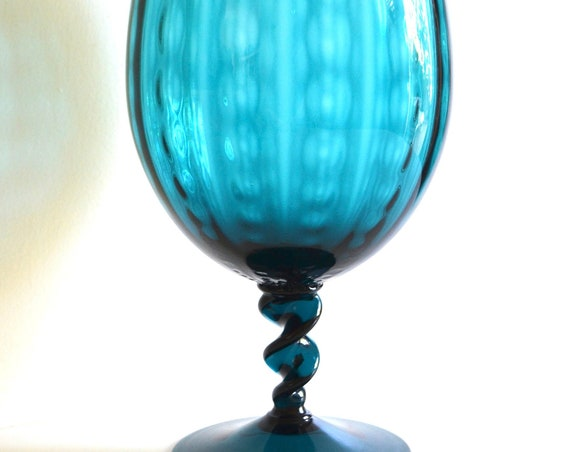 Mid Century Large Teal Glass Footed Vase