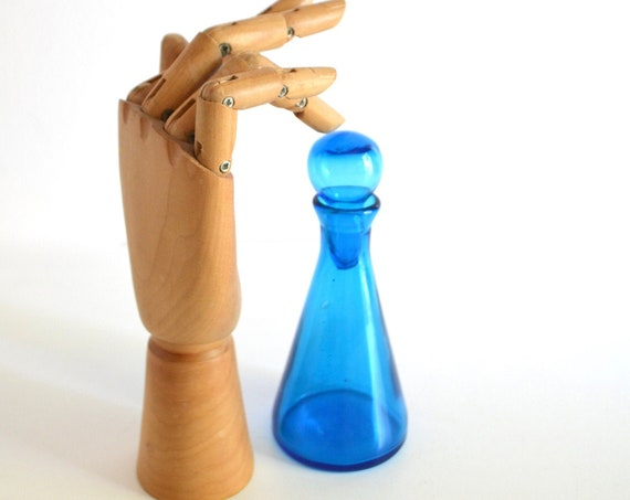Small Vintage Blue Glass Bottle with Stopper