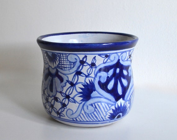 Vintage White and Blue Hand Painted Mexican Small Planter