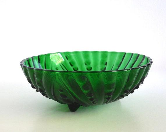 Vintage Anchor Hocking Burple Green Large Dessert Bowl