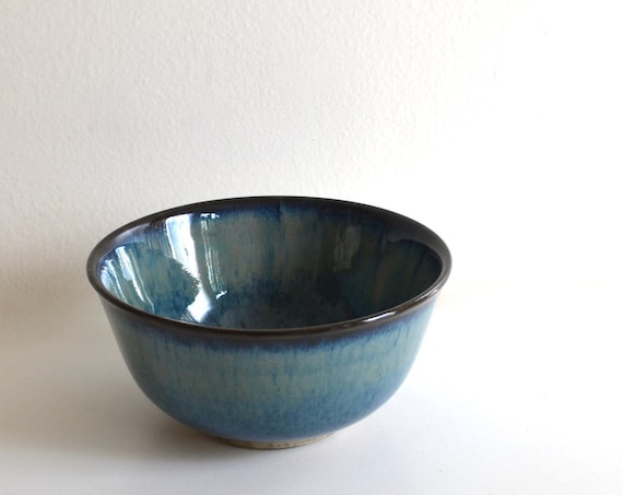 Vintage Small Blue and Sage Ceramic Bowl