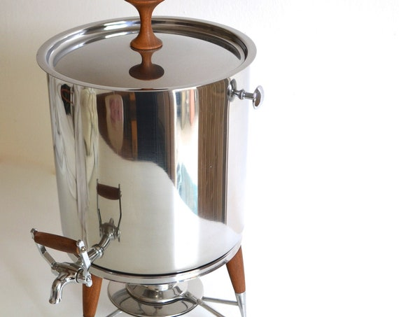 Mid Century Large Stainless Steel Coffee Server with Wood Accents