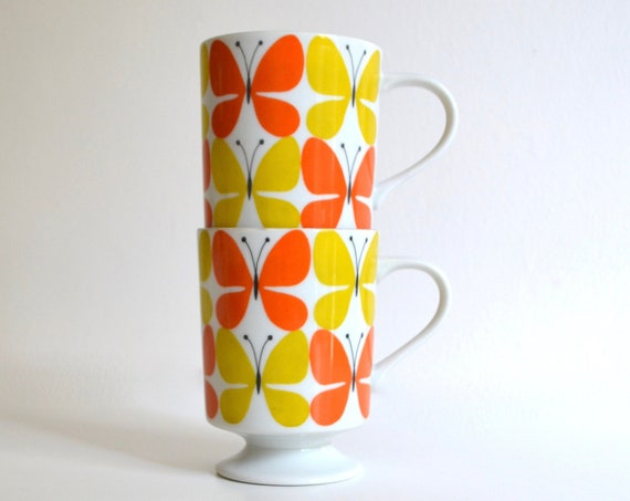 Vintage Pair of Footed Butterfly Patterned Mugs