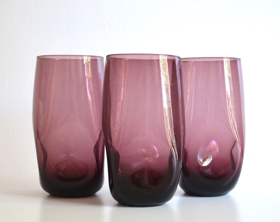 Set of Three Vintage Handblown Plum Colored Drinking Glasses