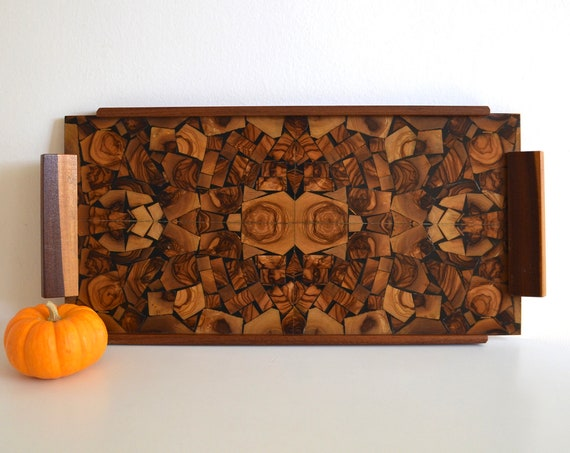 Mid Century Olive Wood Marquetry Serving Tray Handcrafted by Hayadith