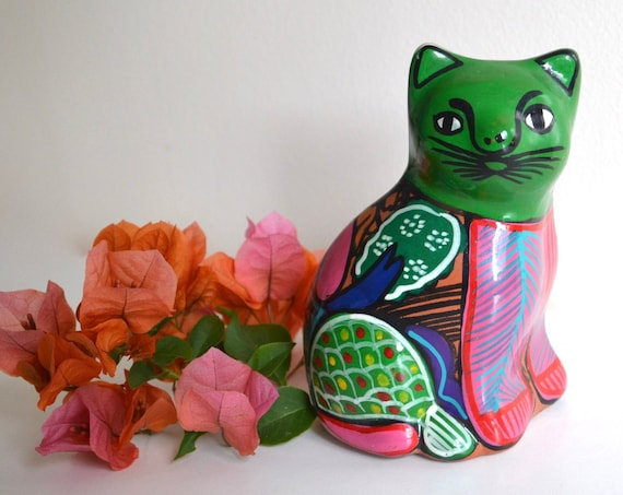 Vintage Mexican Ceramic Green Cat Figurine