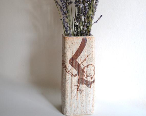 Vintage Stoneware Rectangular Japanese Vase