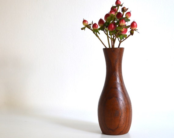 Mid Century Danish Small Teak Wood Bud Vase