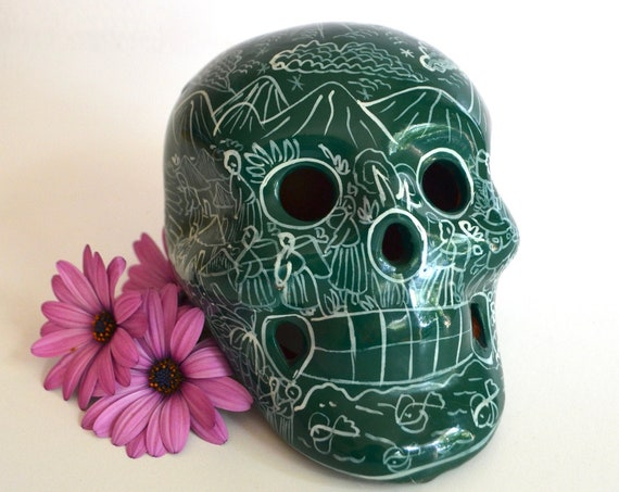 Vintage Mexican Ceramic Green Skull
