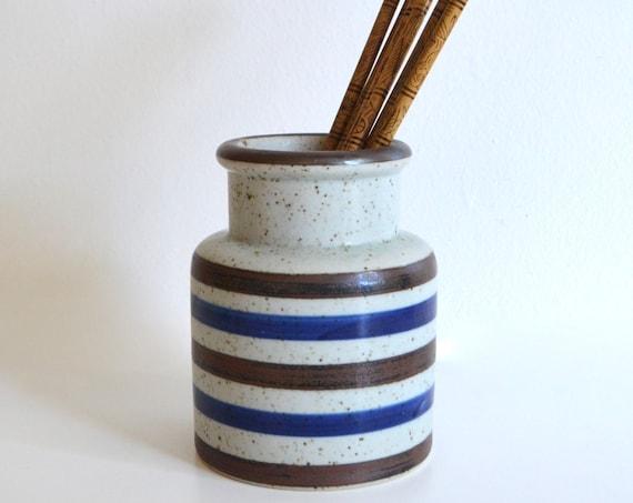 Vintage Japanese Stripe Stoneware Jar