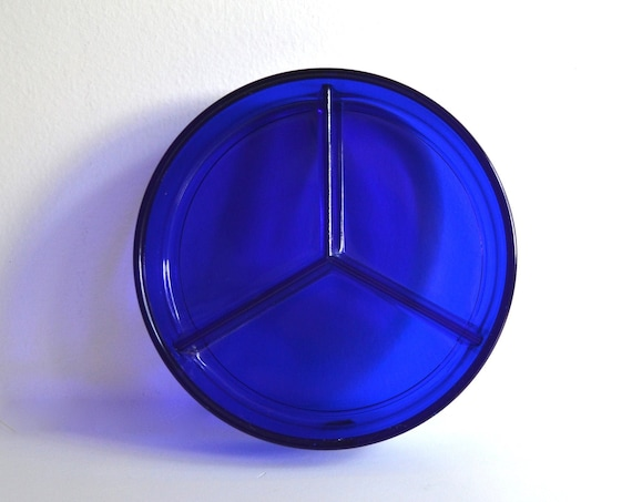 Vintage Cobalt Blue Three Section Glass Dish
