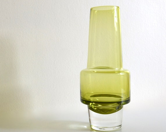 Mid Century Green Glass Rocket Vase by Inge Samuelsson