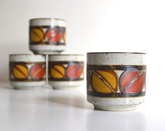 Vintage Set of Four Stoneware Asian Style Mugs