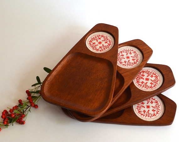 Set of Four Mid Century Wood Snack Trays with Inlaid Cork Coasters