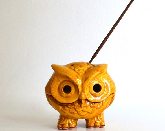 Vintage Ceramic Yellow Owl Incense Burner