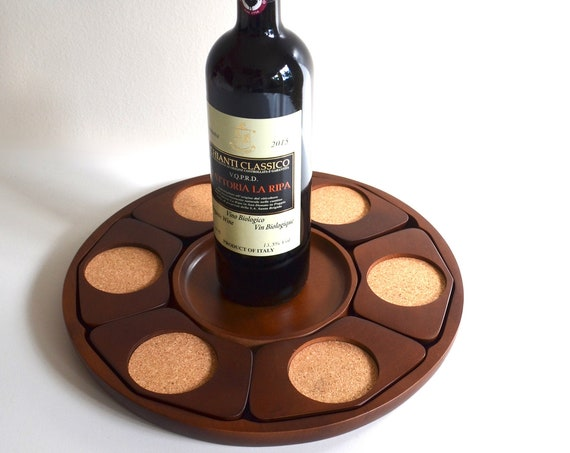 Mid Century Wood Coaster Tray by Marui Wood Factory