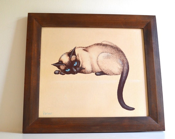 Vintage Siamese Cat Framed Painting by Irene
