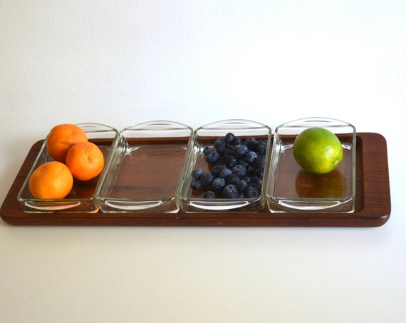 Mid Century Danish Teak Wood Serving Tray with Glass Dishes by Esa