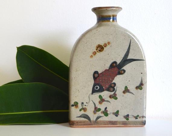 Vintage Ceramic Mexican Vase with Fish Design