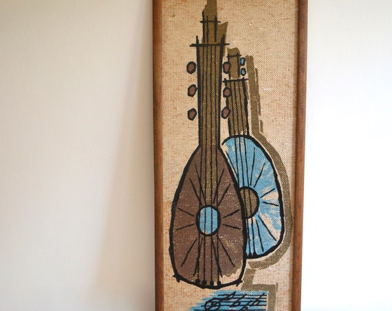 Mid Century Still Life with Mandolins Print on Burlap