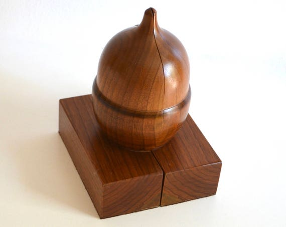 Mid-Century Carved Wood Acorn Bookends