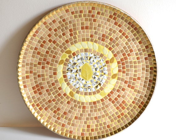 Large Mid Century Round Yellow Leaf Tile Tray